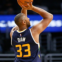 25 March 2016: Utah Jazz center Boris Diaw (33) takes a jump shot during the Los Angeles Clippers 108-95 victory over the Utah Jazz, at the Staples Center, Los Angeles, California, USA.