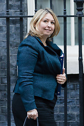 © Licensed to London News Pictures. 09/10/2018. London, UK.  Karen Bradley,<br /> Secretary of State for Northern Ireland leaving Downing Street after a cabinet meeting.  Photo credit: Vickie Flores/LNP