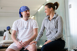 Spela Perc, Personal trainer and owner of the Studio (R) with Rok Plestenjak, a journalist of Siol Sportal during Gyrotonic Exercise Demonstration and Explanation on January 17, 2013 in GYROTONIC studio Ljubljana, Wolfova 1, Slovenia. (Photo by Vid Ponikvar / Sportida.com)