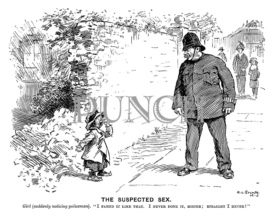 "The Suspected Sex. Girl (suddenly noticing policeman). ""I fahnd it like that. I never done it, mister; Straight I never!"""