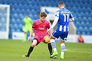 Hartlepool player Kenton Richardson blocks a pass in the first half during the EFL Sky Bet League 2 match between Colchester United and Hartlepool United at the Weston Homes Community Stadium, Colchester, England on 25 February 2017. Photo by Ian  Muir.