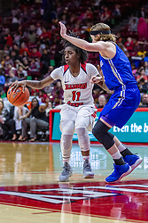NORMAL, IL - December 20: Te Te Maggett defended by Kerri McMahan during a college women's basketball game between the ISU Redbirds and the St. Louis Billikens on December 20 2018 at Redbird Arena in Normal, IL. (Photo by Alan Look)