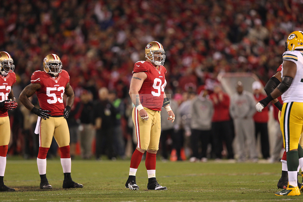 San Francisco 49ers defensive end Justin Smith (94) in action during a NFL Divisional playoff game against the Green Bay Packers at Candlestick Park in San Francisco, Calif., on Jan. 12, 2013. The 49ers defeated the Packers 45-31. (AP Photo/Jed Jacobsohn)