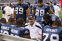06 November 2011: Coach Todd Wash of the Seattle Seahawks coaches (92) Brandon Mebane against the Dallas Cowboys during the second half of the Cowboys 23-13 victory over the Seahawks at Cowboy Stadium in Arlington, TX.