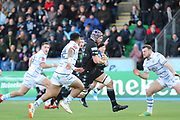 Glasgow Warriors replacement Tim Swinson (19) with a powerful run during the Heineken Champions Cup match between Glasgow Warriors and Cardiff Blues at Scotstoun Stadium, Glasgow, Scotland on 13 January 2019.