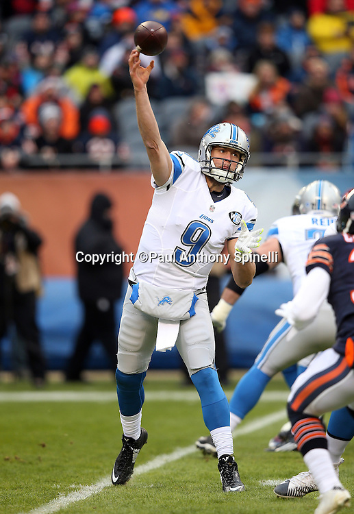 Detroit Lions quarterback Matthew Stafford (9) throws a pass on the Lions first offensive series in the first quarter during the NFL week 17 regular season football game against the Chicago Bears on Sunday, Jan. 3, 2016 in Chicago. The Lions won the game 24-20. (©Paul Anthony Spinelli)