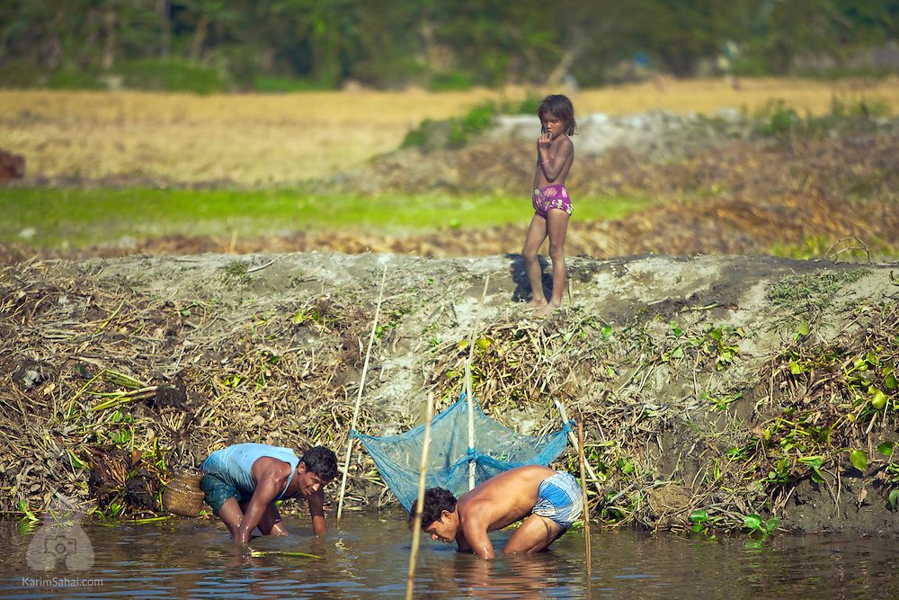 Two men fish while a girl looks on, Botabari, Assam, India.