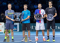 Tennis - 2017 Nitto ATP Finals at The O2 - Day Eight<br /> <br /> Mens Doubles: Final : Henri Kontinen (Finland) & John Peers (Australia) Vs Lukasz Kubot (Poland) & Marcelo Melo (Brazil) <br /> <br /> The winners Henri Kontinen (Finland) and John Peers (Australia) with runners up Lukasz Kubot (Poland) and Marcelo Melo (Brazil) at the O2 Arena<br /> <br /> COLORSPORT/DANIEL BEARHAM