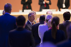 LIMA, Sept. 16, 2017  New International Olympic Committee (IOC) honorary member Gerard Heiberg (C) reacts during the 131st IOC session in Lima, Peru, on Sept. 15, 2017. The 131st IOC session concluded on Friday. (Credit Image: © Li Ming/Xinhua via ZUMA Wire)