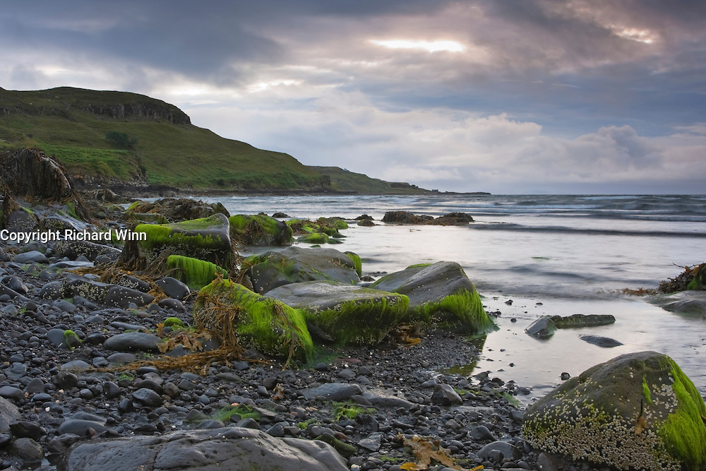 Glendale beach, Isle of Skye on a stormy evening close to sunset.