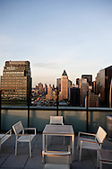 New York, terrace on rooftop overlooking midtown and times square, hotel elements times square