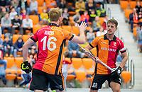 ROTTERDAM  - NK Zaalhockey,   halve finale heren Oranje Rood-SCHC (SCHC wint en plaatst zich voor de finale) . Mark Rijkers (Oranje-Rood)  met Bram Huijbregts (Oranje-Rood)  COPYRIGHT KOEN SUYK