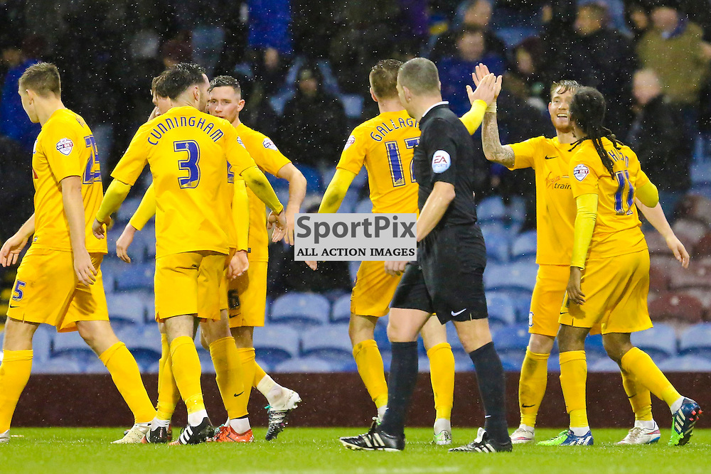 Joe Garner of Preston North End celebrating with his team mates during Burnley v Preston North End, Sky Bet Championship, 5th December 2015, (c) Jackie Meredith/SportPix.org.uk Tom Clarke of Preston North End