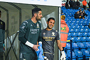 Leeds United goalkeeper Francisco Casilla (13) warming up during the EFL Sky Bet Championship match between Leeds United and West Bromwich Albion at Elland Road, Leeds, England on 1 October 2019.
