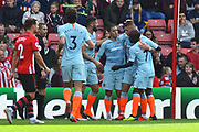 Goal - Eden Hazard (10) of Chelsea celebrates scoring a goal to give a 0-1 lead to the away team during the Premier League match between Southampton and Chelsea at the St Mary's Stadium, Southampton, England on 7 October 2018.