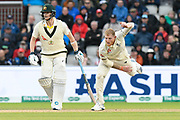 Ben Stokes of England bowling with Steve Smith of Australia at the non strikers end during the International Test Match 2019, fourth test, day one match between England and Australia at Old Trafford, Manchester, England on 4 September 2019.