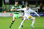 Swansea City's Ryan Blair shields the ball from Forest Green Rovers Omar Bugiel(11) during the EFL Trophy match between Forest Green Rovers and U21 Swansea City at the New Lawn, Forest Green, United Kingdom on 31 October 2017. Photo by Shane Healey.