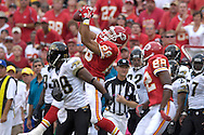 October 6, 2007 - Kansas City, MO..Tight end Tony Gonzalez #88 of the Kansas City Chiefs leaps up high to make a 17-yard catch along the sideline in the first half against the Jacksonville Jaguars, during a NFL football game at Arrowhead Stadium in Kansas City, Missouri on October 6, 2007...FBN:  The Jaguars defeated the Chiefs 17-7.  .Photo by Peter G. Aiken/Cal Sport Media
