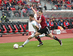 24.04.2016, Grundig Stadion, Nuernberg, GER, 2. FBL, 1. FC Nuernberg vs 1. FC Union Berlin, 31. Runde, im Bild Adrian Nikci (1.FC Union Berlin) links gegen Laszlo Sepsi (1.FC Nuernberg) rechts // during the 2nd German Bundesliga 31th round match between 1. FC Nuernberg vs 1. FC Union Berlin at the Grundig Stadion in Nuernberg, Germany on 2016/04/24. EXPA Pictures &copy; 2016, PhotoCredit: EXPA/ Eibner-Pressefoto/ Fudisch<br /> <br /> *****ATTENTION - OUT of GER*****