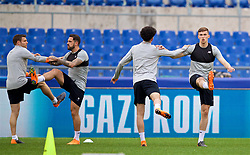 ROME, ITALY - Tuesday, May 1, 2018: Liverpool's L-R James Milner, Danny Ings, Curitis Jones and Conor Masterson during a training session at the Stadio Olimpico ahead of the UEFA Champions League Semi-Final 2nd Leg match between AS Roma and Liverpool FC. Liverpool lead 5-2 from the 1st Leg. (Pic by David Rawcliffe/Propaganda)
