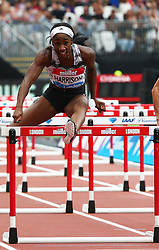 July 22, 2018 - London, United Kingdom - Kendra Harrison of USA  compete in the 100m Hurdles Women Heat A race.during the Muller Anniversary Games IAAF Diamond League Day Two at The London Stadium on July 22, 2018 in London, England. (Credit Image: © Action Foto Sport/NurPhoto via ZUMA Press)