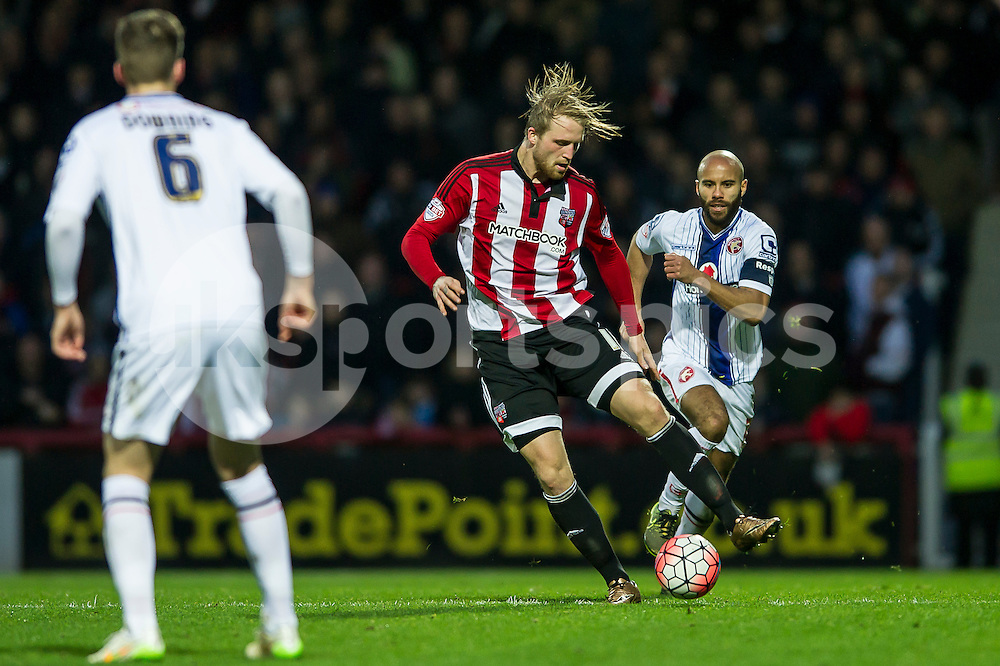 Philipp Hofmann of Brentford during the The FA Cup third round match between Brentford and Walsall at Griffin Park, London, England on 9 January 2016. Photo by Salvio Calabrese.