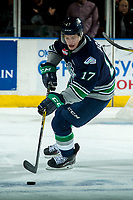 KELOWNA, CANADA - APRIL 30: Tyler Adams #17 of the Seattle Thunderbirds skates with the puck against the Kelowna Rockets on April 30, 2017 at Prospera Place in Kelowna, British Columbia, Canada.  (Photo by Marissa Baecker/Shoot the Breeze)  *** Local Caption ***