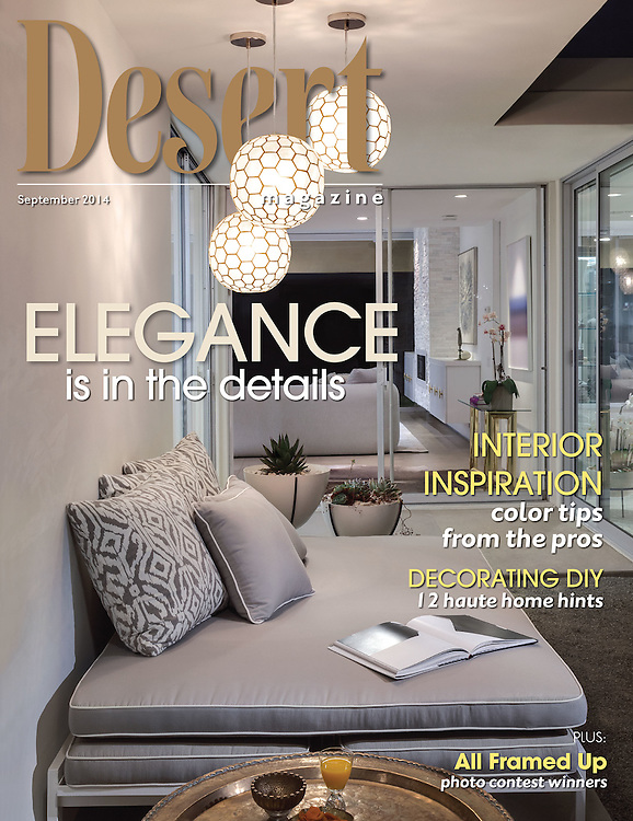 Cover Story Desert Magazine featuring Brigitta Lehnert and Andre home at 7 Lakes Country Club in Palm Springs. Retail Store Flow Modern design was also featured.