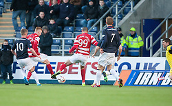 Hamilton's Alistair Crawford and Hamilton's Mickeal Antoine-Curier miss a chance.<br /> Falkirk 0 v 0 Hamilton, Scottish Championship game at The Falkirk Stadium. &copy; Michael Schofield 2014.