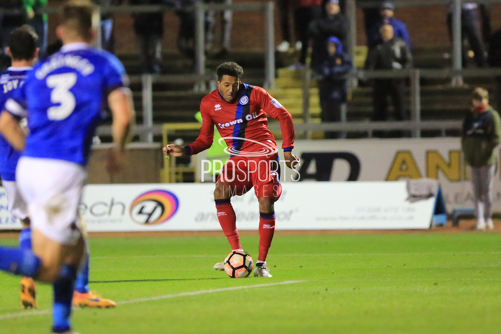 GOAL Nathaniel Mendez-Laing scores to make 2-0 to Rochdale during the The FA Cup match between Carlisle United and Rochdale at Brunton Park, Carlisle, England on 3 December 2016. Photo by Daniel Youngs.