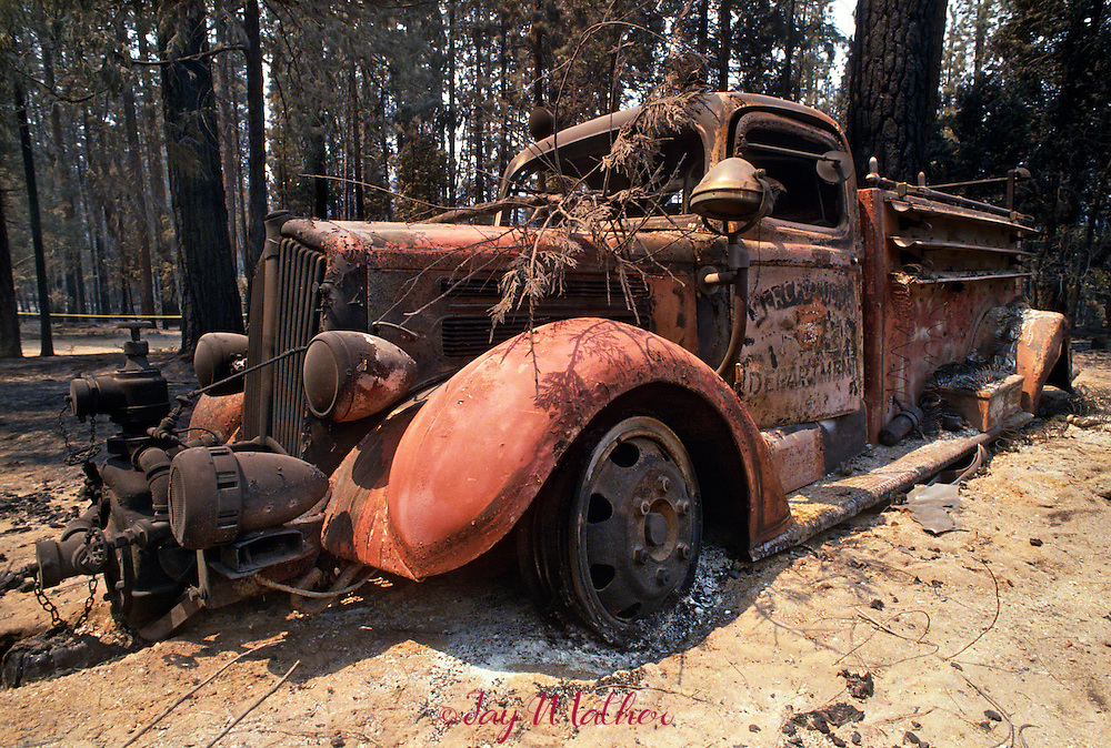 An old fire engine was left behind in the small community of Foresta inside Yosemite National Park as the Arch Rock fire consumed everything in it's path.  August 1990