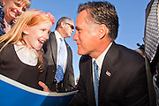 06 DECEMBER 2011 - PARADISE VALLEY, AZ: Addy Davis (CQ RIGHT) 8, from Phoenix, talks to Presidential hopeful Mitt Romney at Hermosa Inn Tuesday. Former Vice President Dan Quayle endorsed Republic Presidential hopeful Mitt Romney at the Hermosa Inn in Paradise Valley Tuesday.    PHOTO BY JACK KURTZ