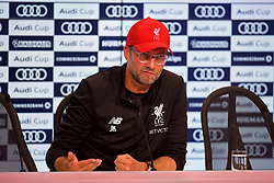 MUNICH, GERMANY - Tuesday, August 1, 2017: Liverpool's manager Jürgen Klopp during a post-match press conference after beating Bayern Munich 3-0 during the Audi Cup 2017 match between FC Bayern Munich and Liverpool FC at the Allianz Arena. (Pic by David Rawcliffe/Propaganda)