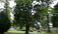 The 2007 Aberdare Park National Motorcycle races on 28/7/2007. action from the Welsh Open race final as two competitors race through the woodland at the scenic Aberdare Park.