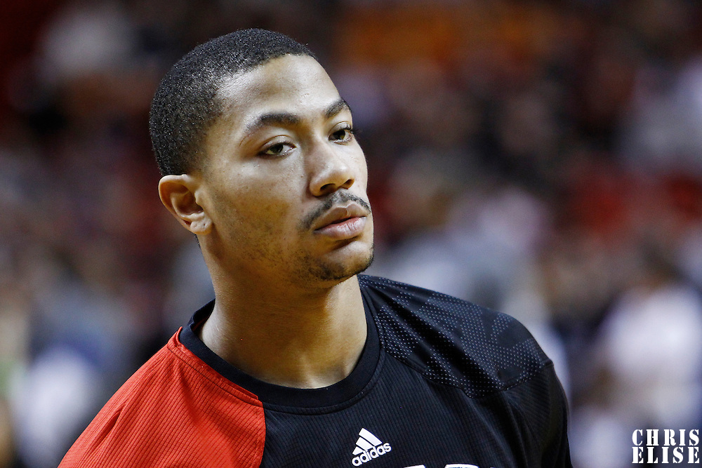 29 January 2012:  Chicago Bulls point guard Derrick Rose (1) is seen prior to the Miami Heat 97-93 victory over the Chicago Bulls at the AmericanAirlines Arena, Miami, Florida, USA.