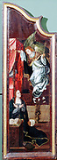 Adoration of the Shepherds'  triptych attributed to Flemish artist Cornelis Englebrechtsen (Engelberts 1468-1533).   Left panel showing  the Annunciation; Angel Gabriel appears to kneeling Mary. Lily in vase is the Virgin's flower symbolising purity. Oil on wood.