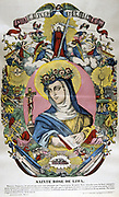 Santa Rosa of Lima (1586-1617) Born Lima, Peru, of Spanish parents, was first canonized saint from the New World. From mid-19th century French coloured print.