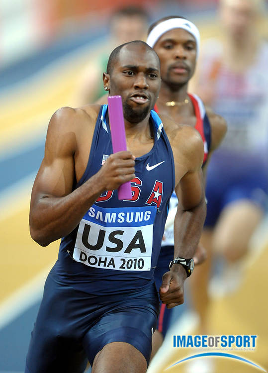 Mar 13, 2010; Doha, QATAR; Greg Nixon runs the opening leg on the United States 4 x 400m relay that won its heat in 3:05.78 in the IAAF World Indoor Championships in Athletics at the Aspire Dome.