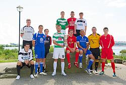 CARDIFF, WALES - Tuesday, August 14, 2012: Representatives of the twelve clubs launch the 2012/2013 Welsh Premier League at the St. David's Hotel. L-R: Ashley Morris (Bala Town), Tom Field (Airbus UK), Lee Idzi (Bangor City), Neil Gibson (Prestatyn Town), Greg Draper (The New Saints), Stuart Jones (Aberystwyth Town), Antonio Corbisiero (Llanelli AFC), Shane Sutton (Newtown AFC), Craig Jones (Gap Connah's Quay), Cortez Belle (Port Talbot Town), Paul Fowler (Carmarthen Town), Mark Jones (Afan Lido). (Pic by David Rawcliffe/Propaganda)