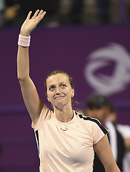 DOHA, Feb. 19, 2018  Petra Kvitova of Czech Republic greets the audiences after winning the single's final match against Garbine Muguruza of Spain at the 2018 WTA Qatar Open in Doha, Qatar, on Feb. 18, 2018. Petra Kvitova won 2-1 to claim the title. (Credit Image: © Nikku/Xinhua via ZUMA Wire)