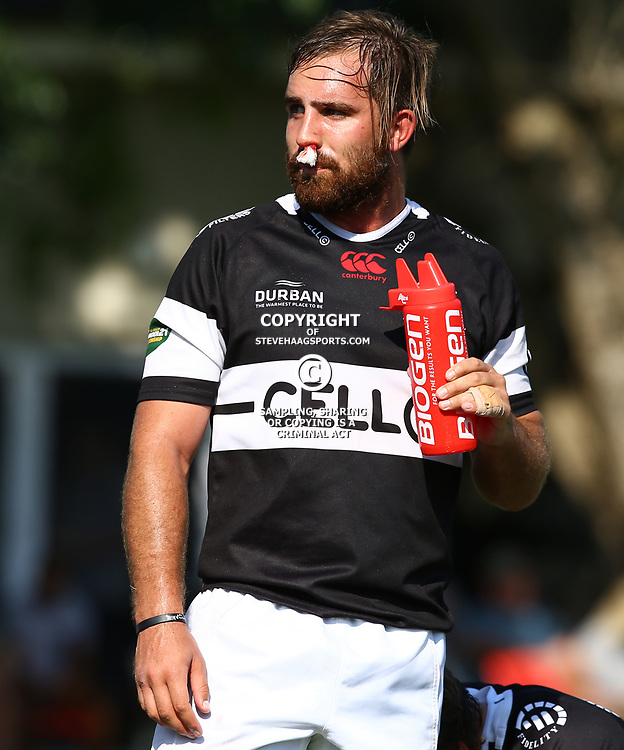 Michael Meyer (Captain) of the Cell C Sharks Under 21's during The Cell C Shark 21's and Leopards  21's Currie Cup at Growthpoint Kings Park KP2 in Durban, South Africa. 8th September  2017 (Photo by ( Steve Haag Sports)