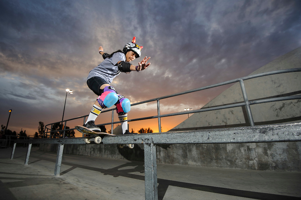 Evelyn May Abad,   boardslide at Lake Cunningham Skatepark | G Project Gear
