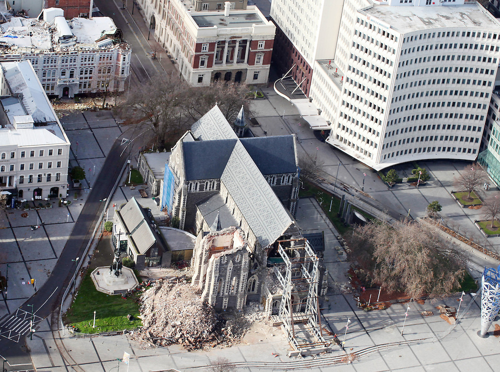 Damage to Christchurch Cathedral following the 6.4 earthquake on June 13, Christchurch, New Zealand, Tuesday, June 14, 2011.  Credit:SNPA/Pam Johnson