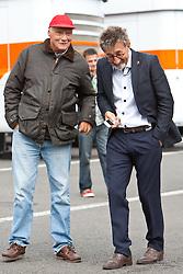 28.08.2011, Circuit de Spa, Francorchamps, BEL, F1, Grosser Preis von Belgien, im Bild Niki Lauda, ehemaliger Formel 1 Fahrer und Weltmeister unterhält sich mit Eddie Jordan, ehemaliger Formel 1 Fahrer und Teamchef // during race at Formula One Championships 2011 Belgian Grand Prix held at the Circuit de Spa, Francorchamps, Belgium, 28/8/2011, EXPA Pictures © 2011, PhotoCredit: EXPA/ J. Groder
