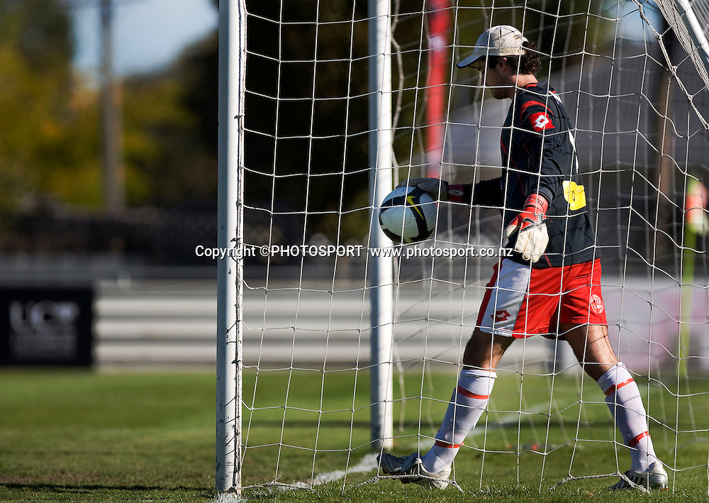 Waitakere United goal keeper Sam Hannah retrieves the ball from the back of the net following one of Canterbury's 6 goals. Lion Foundation Youth League Final, Canterbury United v Waitakere United, English Park, Christchurch, Sunday 11 April 2010. Photo : Joseph Johnson/PHOTOSPORT
