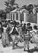 Abolition of slavery in British possessions on 1 August 1834. Emancipation festival in Barbados celebrating the freeing of slaves.  Illustration c1880.