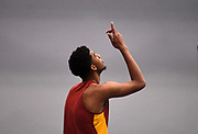 Feb 25, 2017; Seattle, WA, USA; Randall Cunningham of Southern California celebrates after winning the high jump in a meet record 7-5 1/4 (2.27m) during the MPSF Indoor Championships at the Dempsey Indoor.