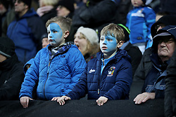 Young Coventry City fans look on during the Emirates FA Cup  Fourth Round match at  Stadium MK Milton Keynes