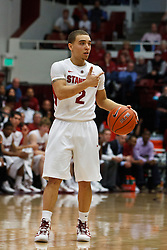 Feb 19, 2012; Stanford CA, USA; Stanford Cardinal guard Aaron Bright (2) dribbles the ball against the Oregon Ducks during the first half at Maples Pavilion. Oregon defeated Stanford 68-64. Mandatory Credit: Jason O. Watson-US PRESSWIRE