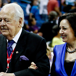 November 9, 2012; New Orleans, LA, USA; New Orleans Hornets owners Tom Benson and Gayle Benson during the second quarter of a game against the Charlotte Bobcats at the New Orleans Arena. Mandatory Credit: Derick E. Hingle-US PRESSWIRE
